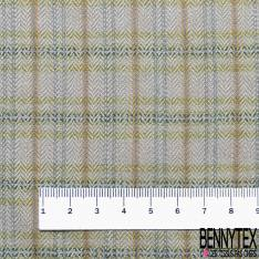 Pure Laine Peignée Prince de Galles Vert de Gris Made In France Années 60