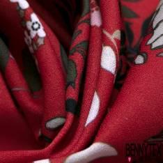 Crêpe Polyester Motif Floral Champêtre chic fond Rouge Mat