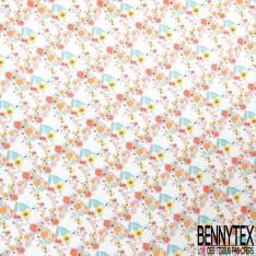 Mousseline Voile Polyester Motif Petite Fleur des Champs fond Jaune Pastel