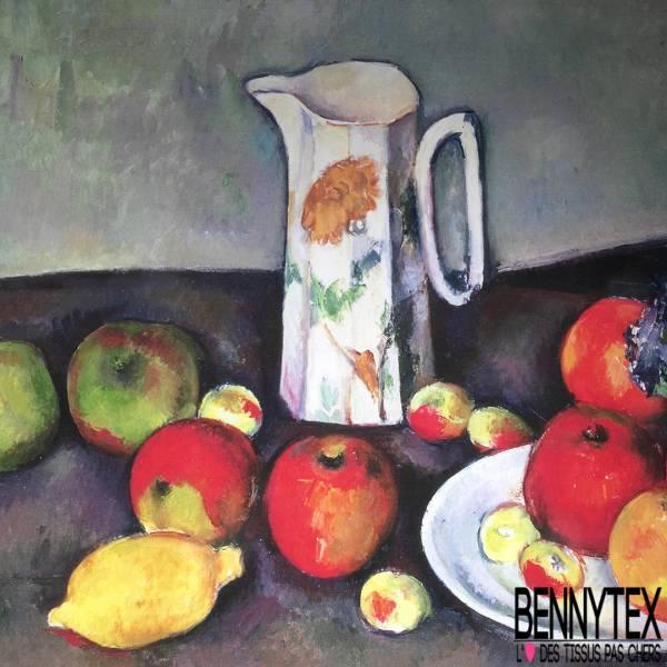 Grande Nappe en Sergé de Coton Prédécoupée Prêt à Coudre Les Pommes de Paul Cézanne