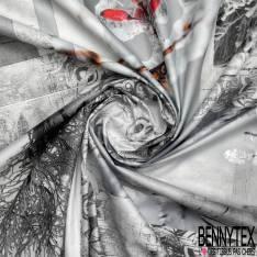 Coton Enduit Impression Motif Nappe à carreaux Thème Hiver Glaçé