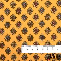 Coton Imprimé Provençale fond Jaune Or