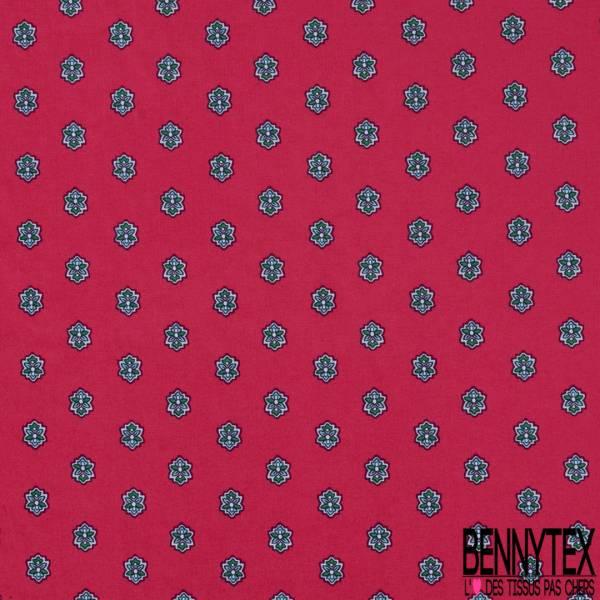 Coton Imprimé Provençale Fantaisie fond Rouge