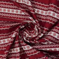 Coton Imprimé Rayure Verticale Etoile des Neiges Rouge Blanc