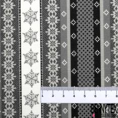 Coton Imprimé Rayure Verticale Etoile des Neiges Gris Blanc