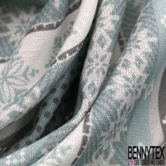 Coton Imprimé Rayure Verticale Etoile des Neiges Bleu Glacier Blanc