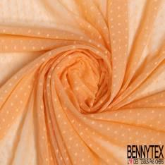 Coupon 3m Résille Plumetis Elasthanne Orange Pastel
