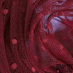 Coupon 3m Résille Plumetis Elasthanne Bordeaux