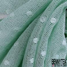 Coupon 3m Résille Plumetis Elasthanne Vert Givré