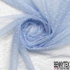 Coupon 3m Résille Plumetis Elasthanne Bleu Layette
