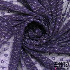 Coupon 3m Résille Lurex Or Floral Elasthanne Violet