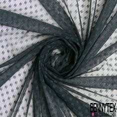 Coupon 3m Résille Petite Fleur Elasthanne Noir