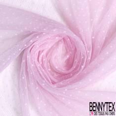 Coupon 3m Résille Plumetis Elasthanne Rose Bonbon