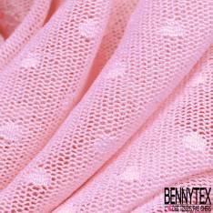 Coupon 3m Résille Plumetis Elasthanne Rose Dragée