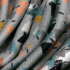 Fibranne Viscose Imprimé Petit Sapin Stylisé Multicolore fond Gris Touché Pashmina