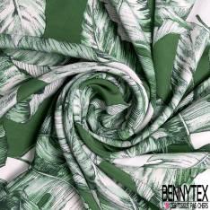 Crêpe Viscose Grande Feuille Tropicale Vert Prairie Blanc