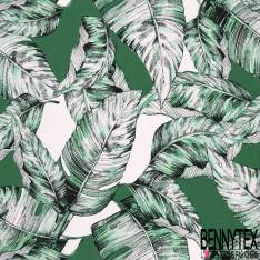 Crêpe Viscose Grande Feuille Tropicale Vert Emeraude Blanc