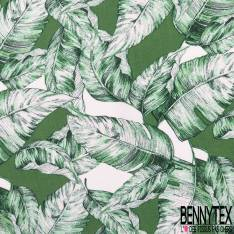 Crêpe Viscose Moyenne Feuille Tropicale Vert Prairie Blanc