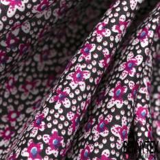 Voile de Coton Multitude de Toutes Petites Fleurs fond Noir