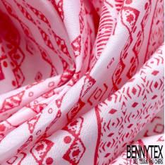 Voile de Coton Rayure Horizontale Fantaisie Rose Malabar fond Blanc
