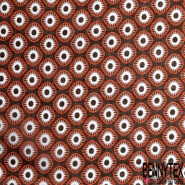 Voile de Coton Imprimé Style Ethnique wax Africain Camaïeu de Marron