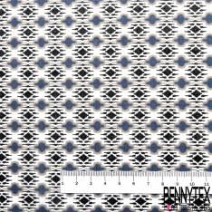 Voile de Coton Imprimé Style Amérindien Gris Bleu Noir fond Blanc