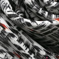 Satinette Polyester imprimé Graphique Hâchure Noir Orange fond Ecru