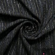 Brocard de Laine Noir Blanc Indigo Lurex Bleu