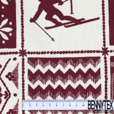Coton Natté Imprimé Carreaux Fantaisie Thème Ski Ecru Rouge