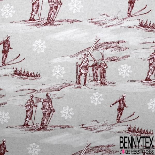 Toile de Coton Souple Imprimé Thème Ski Alpin Lie de Vin Blanc fond Perle