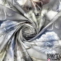 Coton Impression Gelées du Matin et Petits Oiseaux fond Gris Bleu
