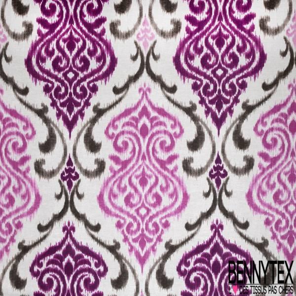 Coton Natté Imprimé Baroque Délavé Orchidée Gris Rose fond Ecru Laize 290cm