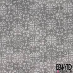Coton Impression Florale Fondue Blanche fond Gris Taupe Laize 2m90