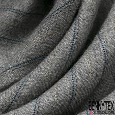 Pure Laine Rayure Verticale Or Vieillit Indigo fond Perle Made In France Années 60