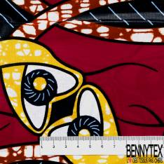 Wax Africain N° 614: Motif Fantaisie Sinusoïdale Marbré Jaune Ocre Rouge