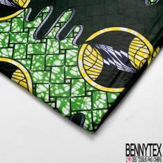 Wax Africain N° 605: Motif Bulle Fantaisie fond Abstrait Vert