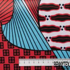 Wax Africain N° 606: Motif Abstrait Fantaisie Corail Turquoise fond Blanc