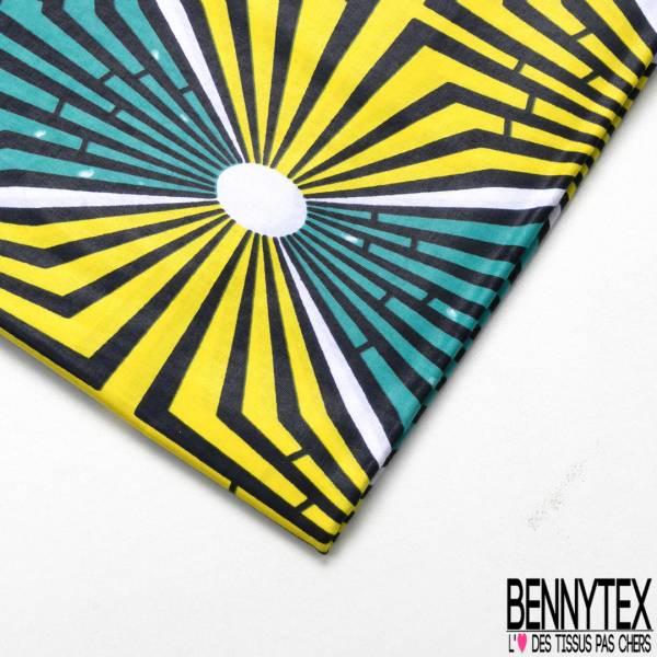 Wax Africain N° 608: Motif Eclair fond Lagon Jaune Blanc