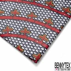 Wax Africain N° 609: Motif Bourgeons sur Blanche Ronde Rouge fond Alvéole Nuit