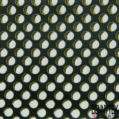 Wax Africain N° 631: Motif Eclipse Lunaire fond Vert Bouteille