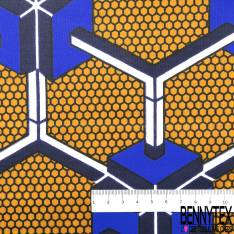 Wax Africain N° 634: Motif Géométrique 3D Bleu Roi fond Alvéole Moutarde