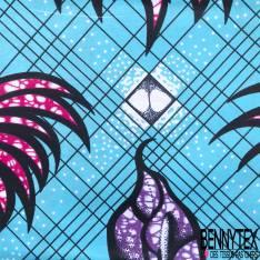 Wax Africain N° 640: Motif Anémone de Mer Marbrée fond Quadrillé Turquoise