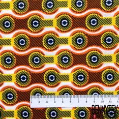Wax Africain N° 650: Motif Chaîne de Vélo Jaune Orange fond Blanc
