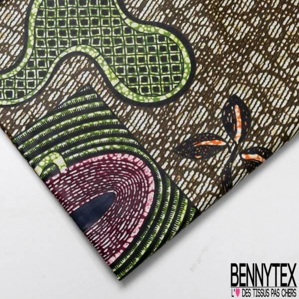 Wax Africain N° 654: Motif Naîf Surréaliste fond Marbré Kaki Crème