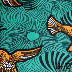 Wax Africain N° 652: Motif Aigle Royal Orange Blanc fond Emeraude