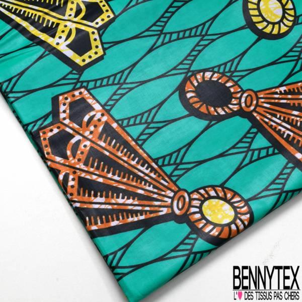 Wax Africain N° 655: Motif Balle Badmington Stylisée Marbrée Jaune Orange fond Emeraude