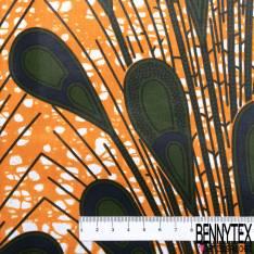 Wax Africain N° 663: Motif Plume de Paon Kaki Nuit fond Marbré Orange
