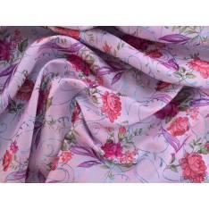 Sergé Polyester Fleurs Lamé fond Rose Parme