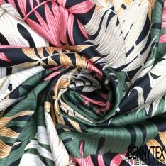 Coton Elasthanne Impression Petite Feuille Eventail Noir fond Rouge Satiné
