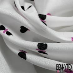 Voile de Coton Imprimé Thème la plage Triangle Rose fond Blanc